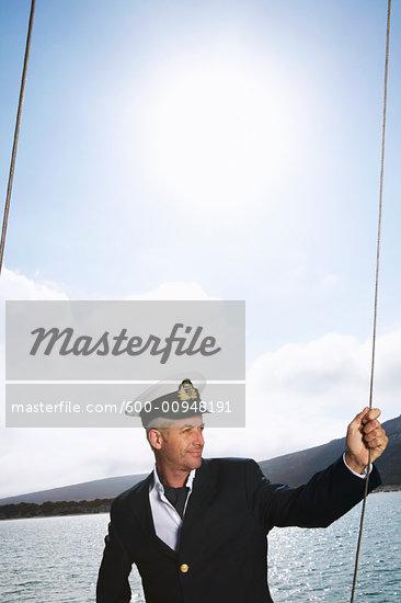 Man on Yacht - Stock Photos  Yacht Captain Uniform