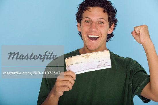 Portrait of Man Holding Cheque    Stock Photo - Premium Rights-Managed, Artist: John Gertz, Code: 700-01072307