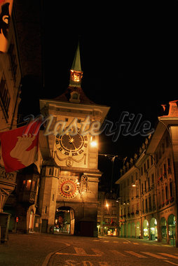 Low angle view of a clock tower in a city, Berne, Berne Canton, Switzerland Stock Photo - Premium Royalty-Freenull, Code: 625-01098702