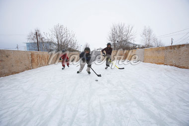 Kids Playing Ice Hockey    Stock Photo - Premium Royalty-Free, Artist: Jerzyworks, Code: 600-01124339