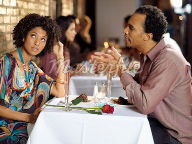 Couple at Restaurant    Stock Photo - Premium Rights-Managed, Artist: Mark Leibowitz, Code: 700-01184427