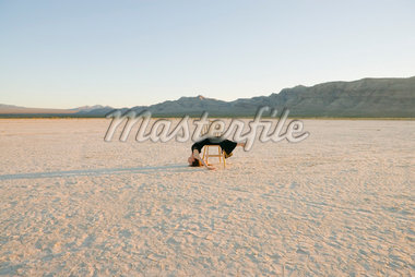 Woman Dancing in the Desert    Stock Photo - Premium Rights-Managed, Artist: Tomasz Rossa, Code: 700-01195052