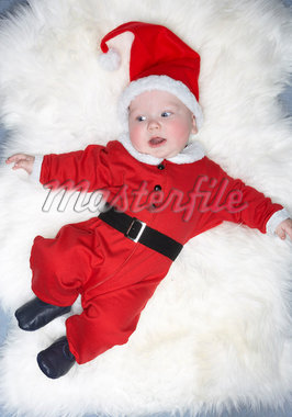 Baby Boy Dressed as Santa    Stock Photo - Premium Rights-Managed, Artist: David Zuber, Code: 700-01236469