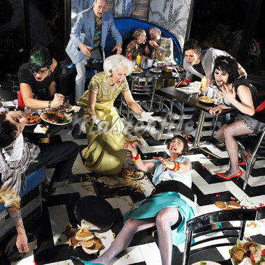Chaotic Scene in Diner    Stock Photo - Premium Rights-Managed, Artist: Brian Kuhlmann, Code: 700-01585952