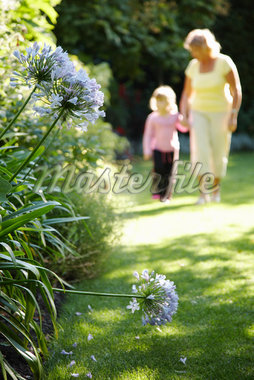 Grandmother and Granddaughter Walking in Garden    Stock Photo - Premium Royalty-Free, Artist: Masterfile, Code: 600-01645163