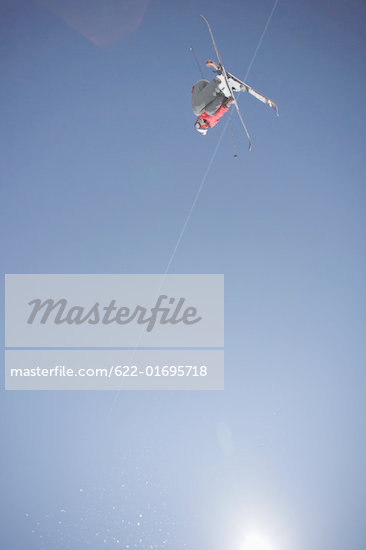 Skier Flying Through the Air Stock Photo - Premium Royalty-Freenull, Code: 622-01695718
