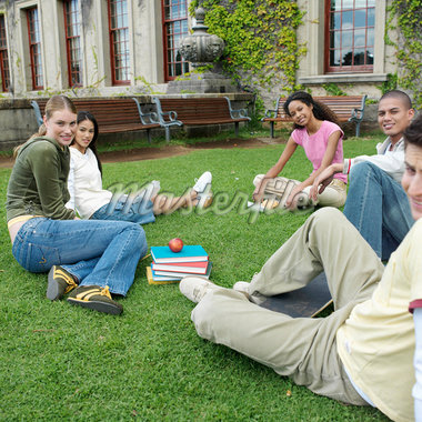 Young students sitting on grass outdoors Stock Photo - Premium Royalty-Freenull, Code: 618-01738133