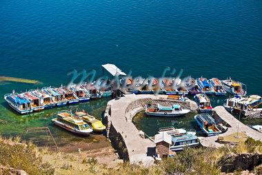 High angle view of boats moored at a dock, Lake Titicaca, Taquile Island, Puno, Peru Stock Photo - Premium Royalty-Freenull, Code: 625-01753360