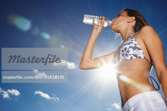 Girl in Bikini Drinking Water