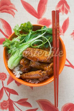 Chicken wings with rice and pak choi (Asia) Stock Photo - Premium Royalty-Freenull, Code: 659-01847974