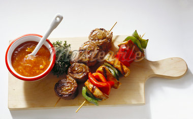 Two colorful BarBQ Skewers Stock Photo - Premium Royalty-Freenull, Code: 659-01848723