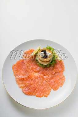 Smoked salmon with toast, crème fraîche and caviar Stock Photo - Premium Royalty-Freenull, Code: 659-01863969