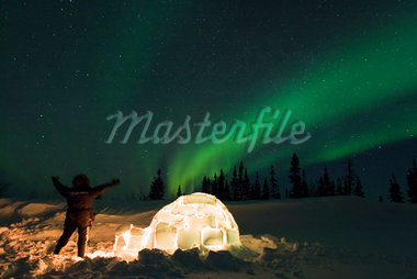 Person Standing near Igloo, Looking at Northern Lights, Wapusk National Park, Manitoba, Canada    Stock Photo - Premium Royalty-Free, Artist: F. Lukasseck, Code: 600-02010762