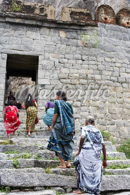 Women Climbing Stairs, Gingee Fort, Tamil Nadu, Viluppuram District, India    Stock Photo - Premium Rights-Managed, Artist: John Cullen, Code: 700-02081607