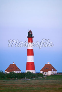 Lighthouse in Westerhever, Eiderstedt, Nordfriesland, Schleswig-Holstein, Germany    Stock Photo - Premium Rights-Managed, Artist: Moritz Schönberg, Code: 700-02216155
