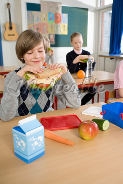 Boy Eating Lunch at School    Stock Photo - Premium Rights-Managed, Artist: Anders Hald, Code: 700-02217420
