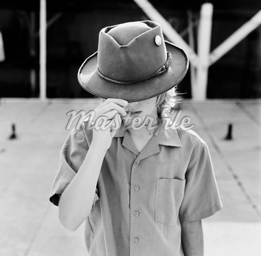 Portrait of Boy Tipping Hat    Stock Photo - Premium Rights-Managed, Artist: Daniel Milnor, Code: 700-02232032