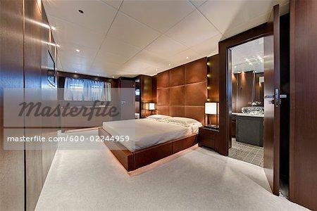 Bedroom Interior of Luxury  Yacht Inside Bathroom