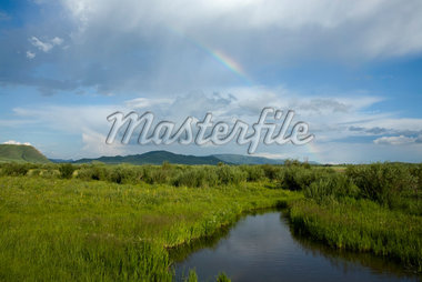 Rainbow Over a River in the Gurustai Ecological Preserve, Inner Mongolia, China    Stock Photo - Premium Rights-Managed, Artist: dk & dennie cody, Code: 700-02288354