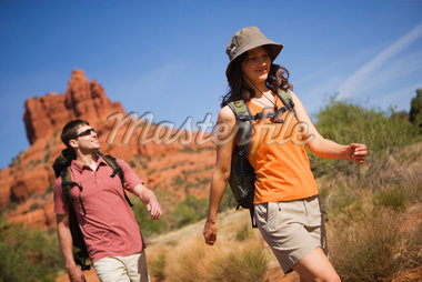 Couple Hiking by Bell Rock, Sedona, Arizona    Stock Photo - Premium Rights-Managed, Artist: Ty Milford, Code: 700-02386017