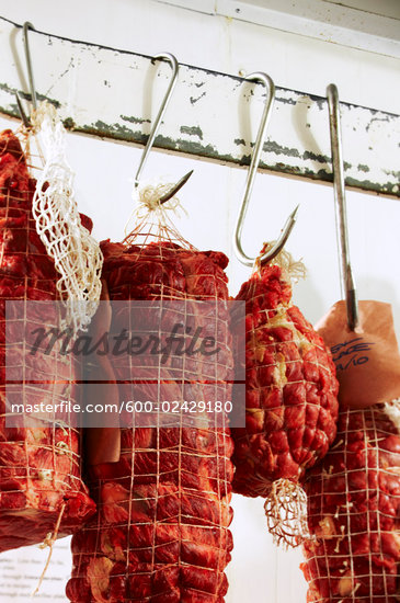 Meat Hanging in Butcher Shop    Stock Photo - Premium Royalty-Free, Artist: John Cullen, Code: 600-02429180