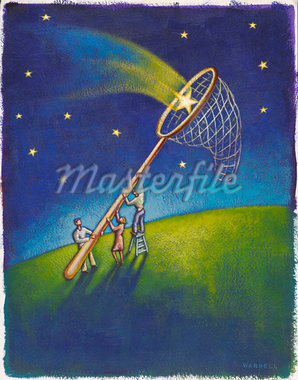 Illustration of People Catching Stars in Net    Stock Photo - Premium Royalty-Free, Artist: James Wardell, Code: 600-02633752