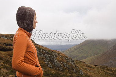 Woman Looking over Hills, Connemara National Park, Connemara, County Galway, Ireland    Stock Photo - Premium Rights-Managed, Artist: Lalove Benedict, Code: 700-02669430