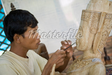 Man Carving Wood Sculpture, Siem Reap, Cambodia Stock Photo - Premium Rights-Managed, Artist: Horst Herget, Code: 700-02670076