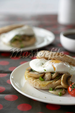 Poached Eggs with Sauteed Mushrooms and Grilled Tomato on Whole Wheat English Muffin    Stock Photo - Premium Royalty-Free, Artist: Michael Alberstat, Code: 600-02686128