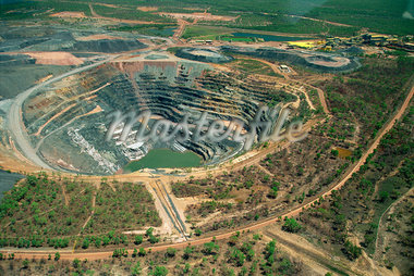 Aerial of Ranger Uranium mine in Kakadu National Park from which a share of the profits go to aboriginal landowners in the Northern Territory of Australia, Pacific    Stock Photo - Premium Rights-Managed, Artist: Robert Harding Images, Code: 841-02723039