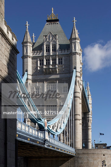 Tower Bridge, London, 1886 - 1894. Detail of tower and bascules. Architect: Horace Jones    Stock Photo - Premium Rights-Managed, Artist: Arcaid, Code: 845-02725140