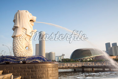 Merlion Statue at the Fullerton Hotel, Merlion Park, Marina Bay, by the Esplanade - Theatres on the Bay and Skyline of Suntec City, Singapore    Stock Photo - Premium Rights-Managed, Artist: F. Lukasseck, Code: 700-02756728