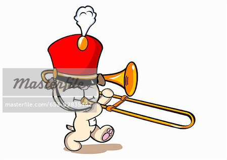 Marching Band Hat Cartoon A dog wearing a marching band