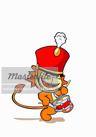 Marching Band Hat Cartoon A lion wearing a marching band