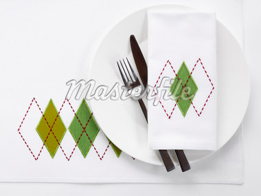 Table Place Setting with Argyle Pattern Stock Photo - Premium Royalty-Free, Artist: Edward Pond, Code: 600-02913082