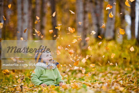 Young female child playing in the Fall leaves in an Anchorage park in Southcentral, Alaska                                                                                                               Stock Photo - Rights-Managed, Artist: AlaskaStock              , Code: 854-02955754