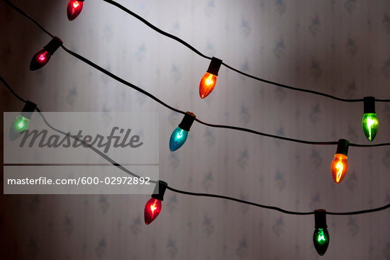 Strings of Christmas Lights Stock Photo - Premium Royalty-Free, Artist: Noel Hendrickson         , Code: 600-02972892