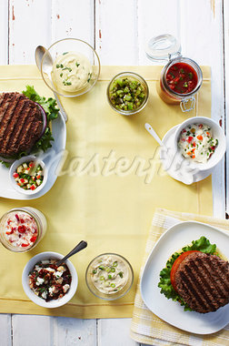 Still Life of Burgers and Toppings Stock Photo - Premium Rights-Managed, Artist: John Cullen              , Code: 700-03003888