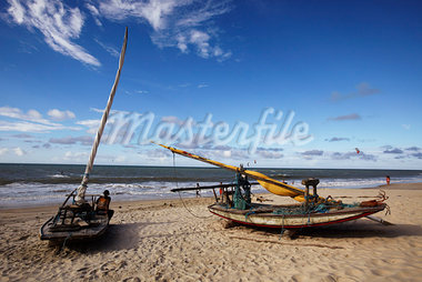 Fishing Boats on the Beach, Fortaleza, Ceara, Brazil Stock Photo - Premium Rights-Managed, Artist: George Simhoni           , Code: 700-03004290