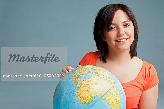 Portrait of Woman Holding a Globe Stock Photo - Premium Royalty-Free, Artist: Leonardo                 , Code: 600-03004342