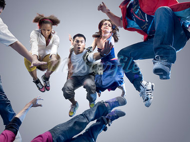 Group of People Jumping                                                                                                                                                                                  Stock Photo - Premium Rights-Managed, Artist: Brian Kuhlmann           , Code: 700-03005078