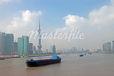 Skyline of Pudong from Huangpu River,Shanghai,China                                                                                                                                                      Stock Photo - Premium Rights-Managed, Artist: Oriental Touch           , Code: 855-03026173