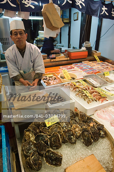 Oyster bar, Nishikikoji covered street market, Kyoto, Japan, Asia                                                                                                                                        Stock Photo - Direito Controlado, Artist: Robert Harding Images    , Code: 841-03054799