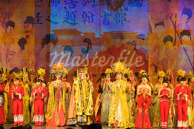 Tang Dynasty dance dating from between 618 and 907AD and Music Show at the Sunshine Grand Theatre, Xian City, Shaanxi Province, China, Asia                                                              Stock Photo - Premium Rights-Managed, Artist: Robert Harding Images    , Code: 841-03055637
