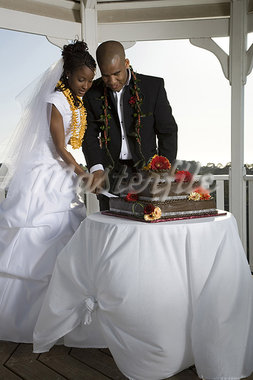 Bride and groom cutting their wedding cake Stock Photo - Premium Royalty-Freenull, Code: 640-03265693