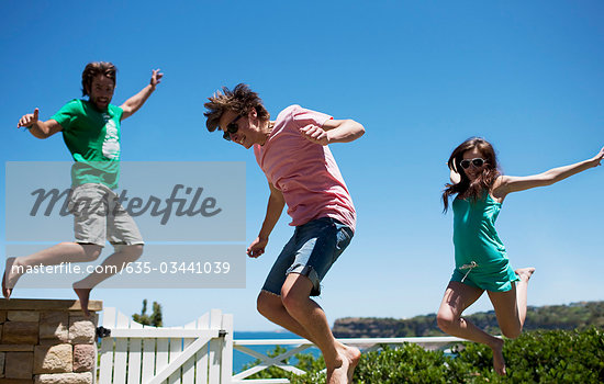 Friends playing on patio Stock Photo - Premium Royalty-Freenull, Code: 635-03441039
