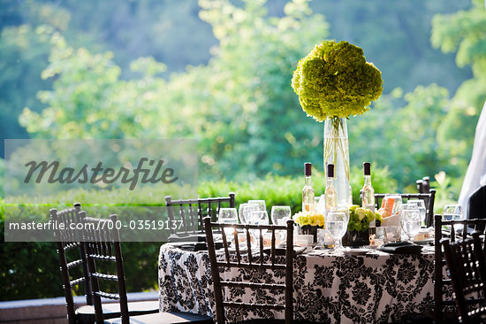Table Setting at Outdoor Wedding Stock Photo RightsManaged