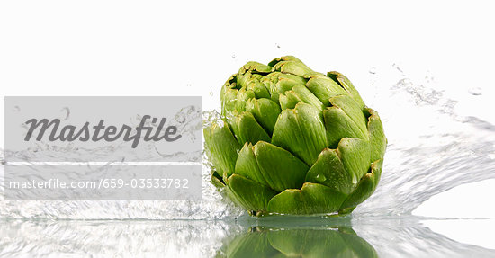 Artichoke with splashing water Stock Photo - Premium Royalty-Freenull, Code: 659-03533782