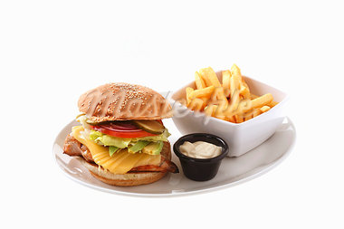 Chicken burger with cheese, chips Stock Photo - Premium Royalty-Freenull, Code: 659-03536084