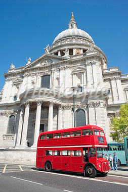 Traditional Routemaster Bus Outside of St. Pauls Cathedral, London, England Stock Photo - Premium Rights-Managed, Artist: JW, Code: 700-03563795